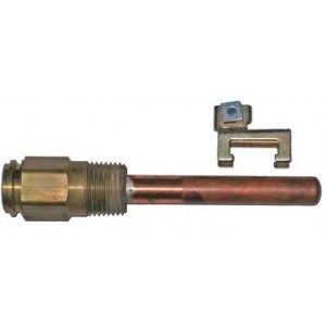 "Honeywell 121371A Copper Immersion Well, 1/2"" MPT, 3"" Probe - Copper Fittings"