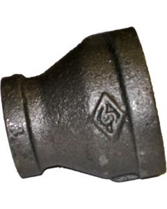 "1"" x 3/4"" Threaded Black Reducing Coupling, Black Fitting"