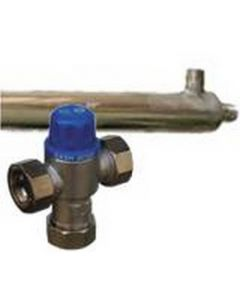 """Stainless Steel Side Arm Heat Exchanger 38.4"""" & Mixing Valve, Fittings"""